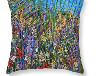 Decorative throw pillow, abstract seagrass design, colorful accent pillow, indoor/outdoor use, couch pillow, colorful grass reeds