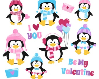80% OFF SALE Valentine's Day Clipart, Valentine Clip Art, Penguin Clipart, Valentine Penguins, Digital Penguins, Printable, Commercial Use