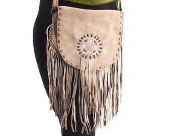 Boho Chic Messenger,Sand Crossbody Purse,Small Messenger Bag,Leather Handbag,Hipster Cross Body Bag,Burning Man,Bohemian,Cross Body Bag,