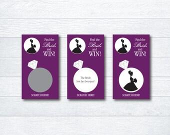 Bridal Shower Scratch Off Game - Bridal Shower Game - Bridal Scratch Off Cards - Bachelorette Party Game - Eggplant