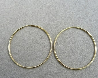 585,14k Solid Gold Endless Hoop Earring 25mm,30mm,High Polished