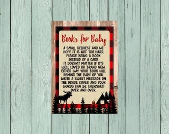 Books for Baby -Card Insert -Lumberjack Moose Matching Design- Digital File *****INSTANT DOWNLOAD**** (Book-moose)