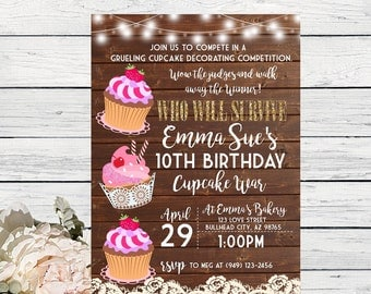 Cupcake War Challenge Personalized birthday invitation- Wooden Background ***Digital File*** (Cupcake-Wooden)