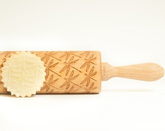 Rolling Pin engraved DRAGONFLY - Embossing rolling pin, unique gift for baking. Birthday wedding gift