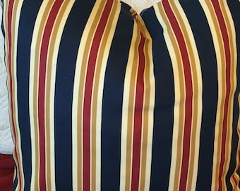 DECORATIVE PILLOW-Navy and Red Stripe Pillow with zipper enclosure