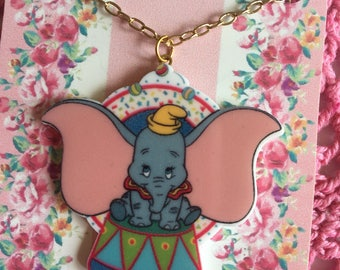 Cute pin up Dumbo resin pendant necklace, handmade by Vintage Laura xx