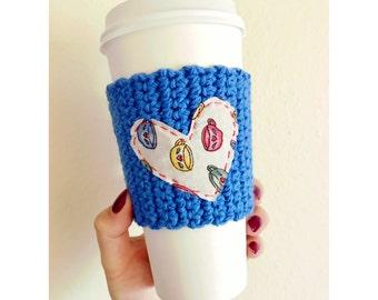 Heart Coffee Cozy // Blue Coffee Cozy // Knitted Coffee Cozy