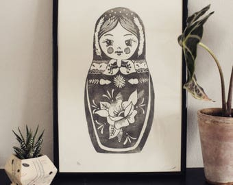 Matryoshka doll Handmade linocut