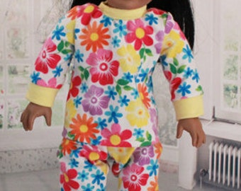 American Girl Doll Flannel Pajamas with Contemporary Floral Print