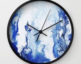 Blue and White, Abstract Art, Wall Clock , Unique Clock, Modern, Minimalist Art, Fluid Art, Wall Decor.