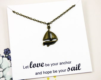 Nautical Boat Necklace, ship jewelry, brass ocean necklace, homemade jewelry with meaning, meaningful, inspirational necklace with meaning
