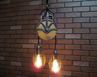 "Industrial Pulley Light  Pendant Rustic Ceiling Light with Trouble Cage Shades  35"" Long Farmhouse Decor"