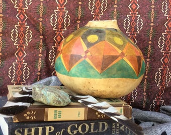 Geo Fifty decorative gourd, painted gourd, decorative art