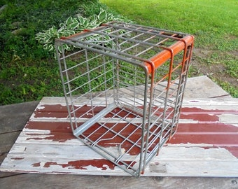 Vintage Metal Brook Hill Farms Milk Crate, Rustic Farmhouse Decor, Home Organization, Industrial Storage