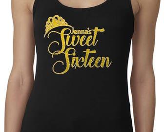 Sweet 16 Custom GLITTERED Tank Top / Custom 16th Birthday Shirts / Fun Birthday Shirts / Fun Birthday Gifts