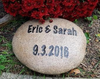 Engraved Wedding Rock - Anniversary Stone - Personalized Wedding Gift - Engraved Rock - Wedding Stone - Family Established - Wedding Gift