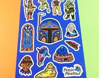 Star Wars Stickers, Boba Fett Stickers, A5 Sticker Sheet, Vinyl Stickers, Laptop Stickers, Phone Stickers, Gift For Boys, Boyfriend Gift.