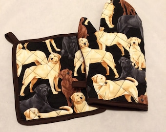 Labrador retriever quilted/insulated pot holder and oven mitt set/individual