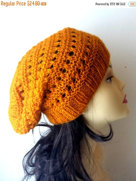SALE 70% Off Liquidation Hand Knitted Hat, Slouchy beanie hat, slouchy yellow, mustard, ocher color hat, hand knit women men hat, chunky slo