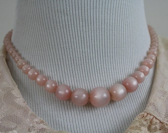 Vintage 50's 60's Shell Pink Moonglow Plastic Celluloid Choker Necklace