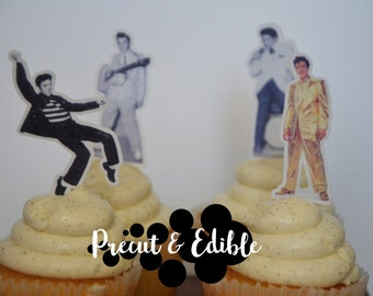 24 Elvis Cupcake Topper,Wafer Paper, Edible Elvis, Cupcake , Topper, Edible cupcake topper