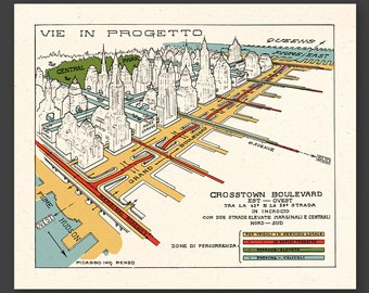NEW YORK 1929 - Crosstown Boulevard - FREE shipping