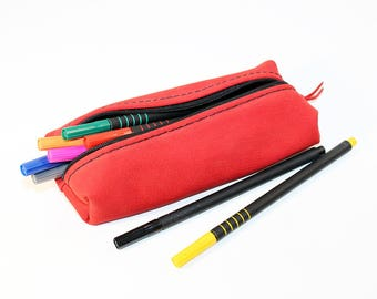 Leather Pencil Case! Handmade Case! Leather Pencil Pouch. Red Pencil Case! FREE SHIPPING WORLDWIDE!