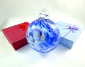 Large Handmade Mixed Blues Art Glass Christmas Ornament, Glow in the Dark