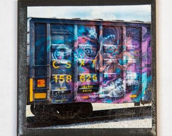 Train art coaster:  Inner Demon - Train Graffiti. Individually photographed and hand made by Frank Heflin