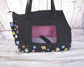 Black quilted large dog carrier