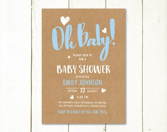 Rustic baby shower invitation boy, Baby boy shower invitation printable, Oh baby shower invitation, kraft baby shower invite