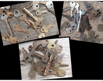 FREE SHIP! Vintage metal keys/assorted keys/craft  keys/french country/country cottage/home decor