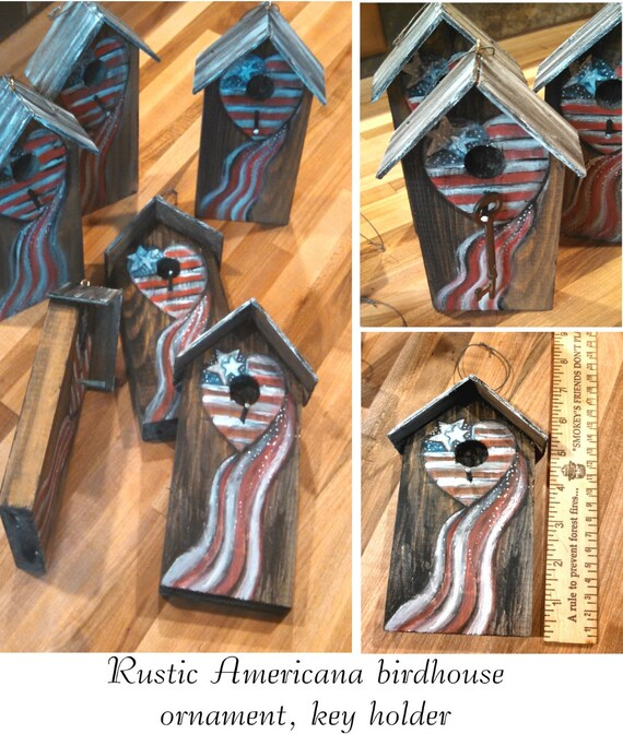 Americana birdhouse red & white stripes hearts stars waving flag rustic ornaments key holder 4th of July decor garden decor floral accents