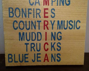 Rustic country sign