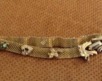 Gold Mesh Rhinestone Bracelet