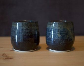 "Handmade, Ceramic Wine Glasses, Wine Tumblers, Blue Glaze, Wheel Thrown, ""Pair of Wine Glasses"""