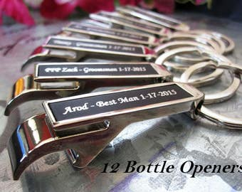KEYCHAIN Bottle Opener,  Personalized Gift for Groomsmen, 12 Engraved Wedding Party Favors