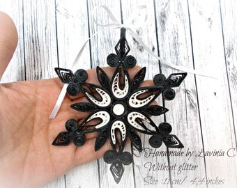 Black/White Paper Quilling Snowflake Ornament for Your Christmas Decoration-Without glitter-size 11 cm/4,4 inches