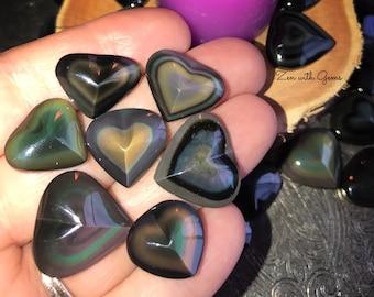 Rainbow obsidian pendant etsy rainbow obsidian heart meditation holistic crystal grid pagan altar magic aloadofball Gallery