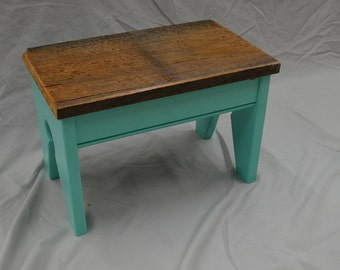 Barnwood Topped Foot Stool, Step Stool, Kids seat with coastal blue base -- perfect vintage look with reclaimed materials