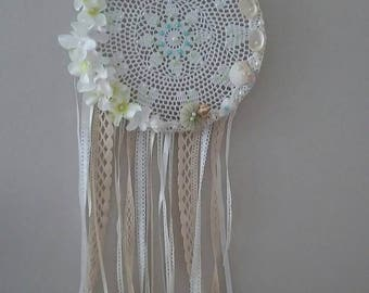 Boho lace dreamcather, crochet doile dreamcather, seashell dreamcatcher, decorated dreamcathchers,