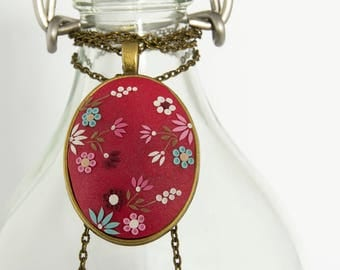 Colorful hand embroidered necklace, Hot pink necklace, romantic necklace, oval pendant, mothers day gift, gift for her, polymer clay