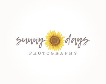 Sunflower Logo Design, Sun Flower Logo, Photography Logo, Custom Logo, Premade Logo, Business Logo, Watermark