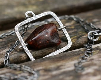Amber Necklace, Oxidized Sterling Silver Necklace, Square Necklace, UK Handmade