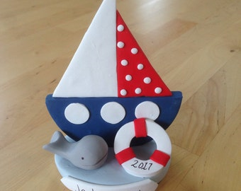 Nautical Sailboat Cake Topper - Keepsake - Baby Shower - Birthday - Ahoy It's a Boy - Personalized - Whale - Anchor