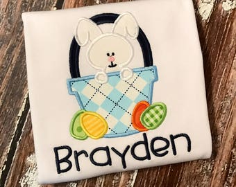 Personalized Easter Bunny basket appliqué bodysuit/shirt/gown