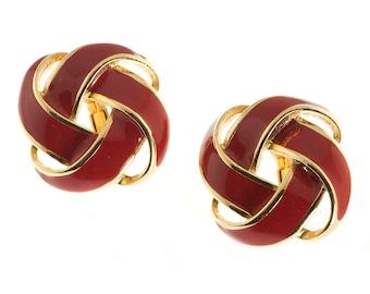 Napier Red Enamel Knot Earrings