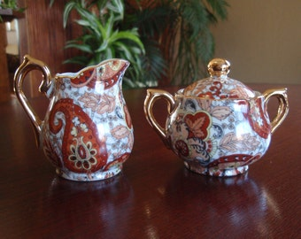 Small Creamer and Sugar Bowl Set Enesco Imports Japan Asian Graphics Home and Living Kitchen and Dining Serving B215