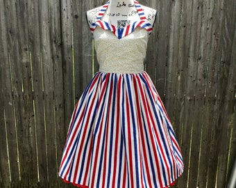 Patriotic Stars & Stripes Sweetheart Dress