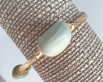 Amazonite Wire Wrap Bangle, Wire Wrapped Bangle, Wire Bangle, Wire Wrap Bracelet, Wire Wrapped Bracelet, Gemstone Bangle